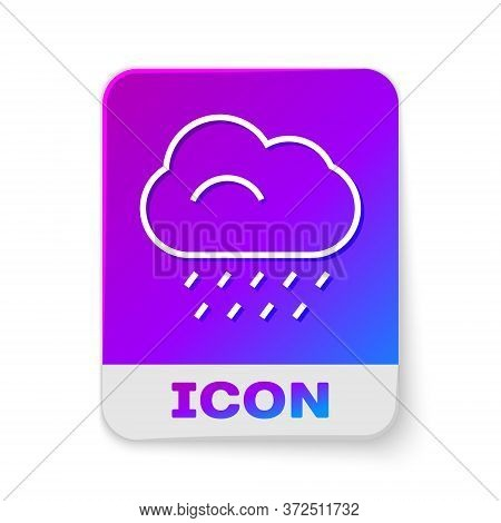 White Line Cloud With Rain Icon Isolated On White Background. Rain Cloud Precipitation With Rain Dro