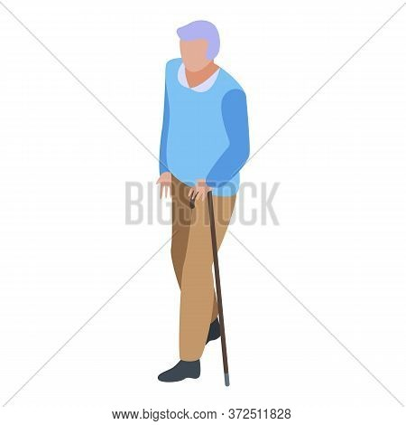 Grandfather Walking Stick Icon. Isometric Of Grandfather Walking Stick Vector Icon For Web Design Is
