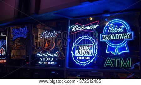 Neon Signs At Nashville Broadway - Nashville, Usa - June 17, 2019