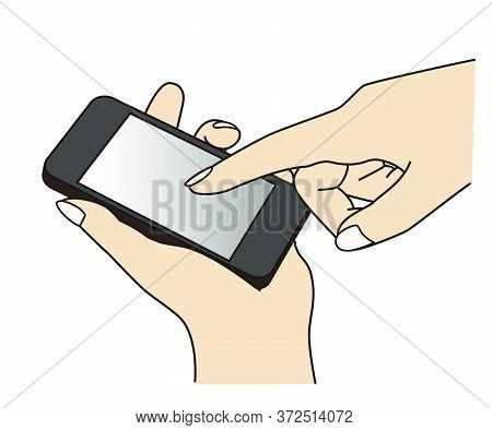 Holding And Using A Cell Phone (mobile Phone) At A Hand, Graphic Element