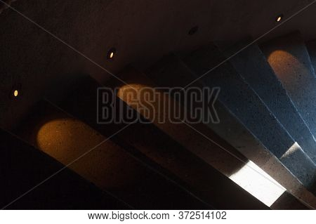 Abstract Interior Fragment, Dark Stairway With Illumination