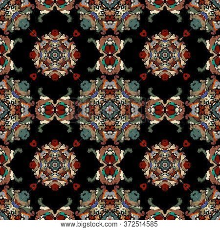 Baroque Textured Vector Seamless Pattern. Colorful Floral Embroidery Damask Background. Tapestry Flo