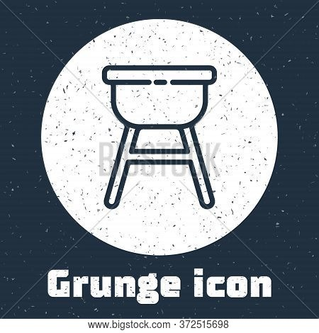 Grunge Line Barbecue Grill Icon Isolated On Grey Background. Bbq Grill Party. Monochrome Vintage Dra