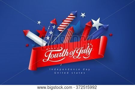 Independence Day Usa Banner Template Rockets For Fireworks Background.4th Of July Celebration Poster