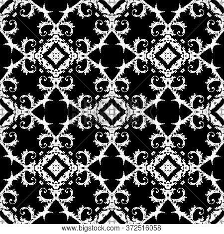 Embroidery Textured Vector Seamless Pattern. Black And White Floral Grunge Background. Tapestry Wall