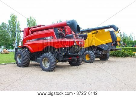 Kyiv, Ukraine - June 16, 2020: Modern Axial-flow 140 By Case Ih Combine At Road At Kyiv, Ukraine On