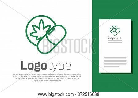Green Line Herbal Ecstasy Tablets Icon Isolated On White Background. Logo Design Template Element. V
