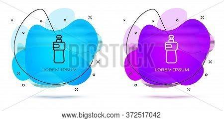 Line Dishwashing Liquid Bottle Icon Isolated On White Background. Liquid Detergent For Washing Dishe