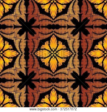 Tapestry Colorful Abstract Seamless Pattern. Embroidery Ornamental Vector Background. Ethnic Grunge