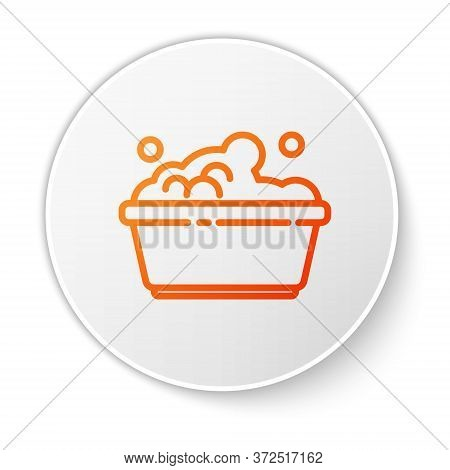 Orange Line Plastic Basin With Soap Suds Icon Isolated On White Background. Bowl With Water. Washing