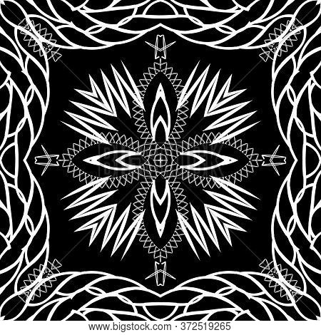 Braided Ropes And Zigzag Vector Seamless Pattern. Black And White Ornamental Abstract Background. Re