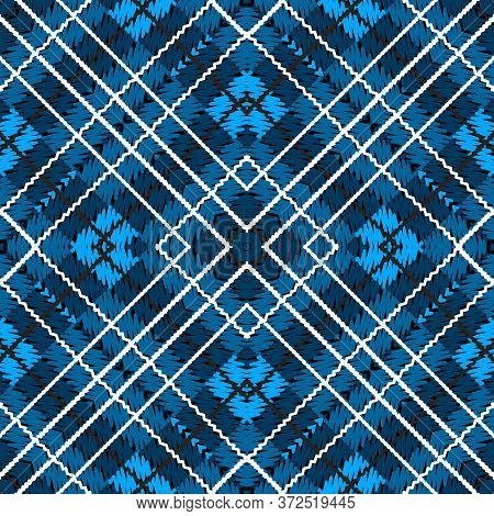 Tartan Embroidery Colorful Vector Seamless Pattern. Elegant Striped Textured Plaid Background. Tapes