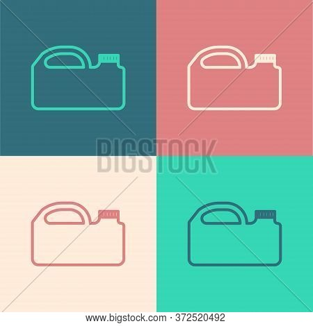 Pop Art Line Plastic Canister For Motor Machine Oil Icon Isolated On Color Background. Oil Gallon. O