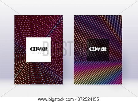 Hipster Cover Design Template Set. Rainbow Abstract Lines On Wine Red Background. Curious Cover Desi