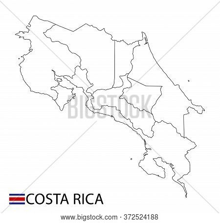 Costa Rica Map, Black And White Detailed Outline Regions Of The Country.
