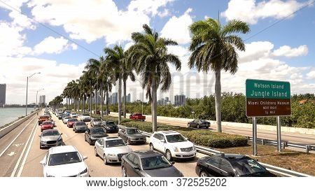 Traffic On Mc Arthur Causeway Bridge To Miami Beach - Miami, Florida April 10, 2016