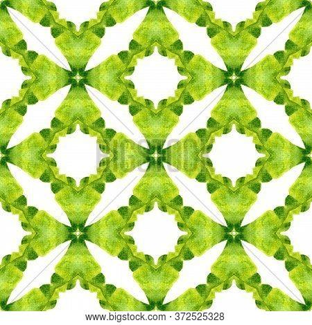 Green Geometric Chevron Watercolor Border. Green Overwhelming Boho Chic Summer Design. Textile Ready