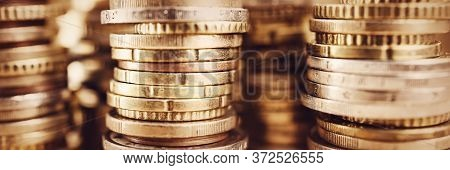 Texture With Stacked Coins Background, Money Savings