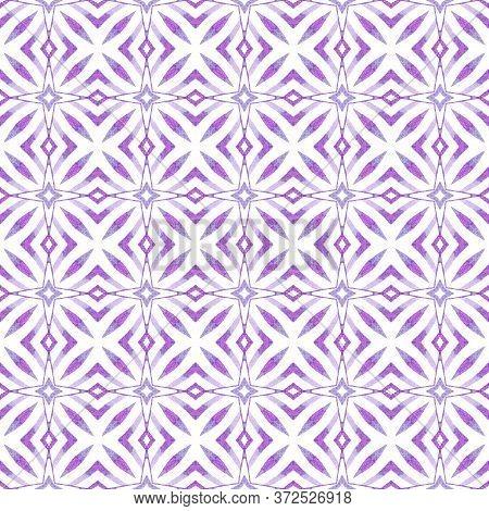 Green Geometric Chevron Watercolor Border. Purple Indelible Boho Chic Summer Design. Chevron Waterco
