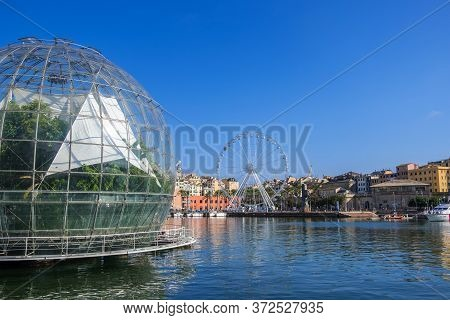 Genoa, Italy - August 18, 2019: The Biosphere By Renzo Piano Known As The Bubble In Porto Antico Di
