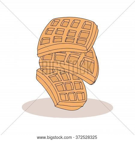 Sweet Waffles Vector Cartoon Illustration. Tasty Breakfast Belgian Waffles Hand Drawn Concept.