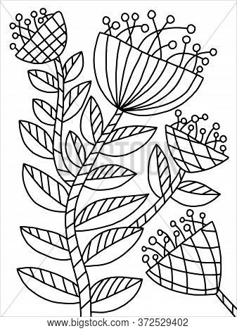 Bloom Floral Spring Coloring. Blossom Flower With Leaves On Branch Coloring Page For Kids And Adults