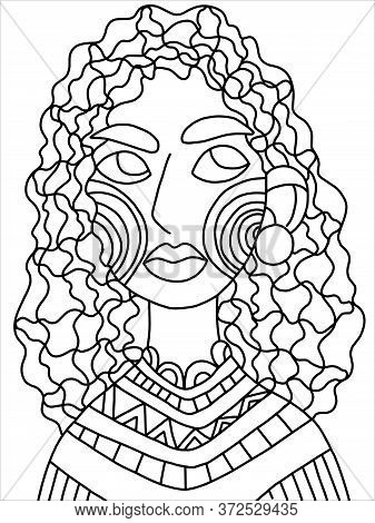 Woman Portrait Coloring Book Page. Serious Face Female Portrait. Cartoon Young Woman With Curvy Hair