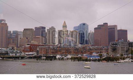 The Skyline Of Boston At Harborside - Boston. Usa - April 5, 2017