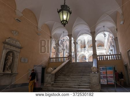 Genoa, Italy - August 20, 2019: Stairway In The Palazzo Doria Tursi In Garibaldi Street Is A City Ha