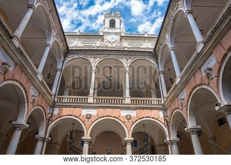 Genoa, Italy - August 20, 2019: The Palazzo Doria Tursi Inner Courtyard In Garibaldi Street Is A Cit