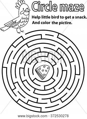 Circle Maze Puzzle With Bird. Round Maze Black And White Stock Vector Illustration. Children Workshe