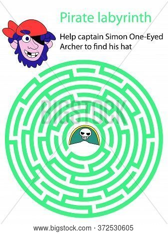 Help Captain Simon One-eyed Archer To Find His Hat. Pirate Labyrinth Educational Circle Maze Game Fo