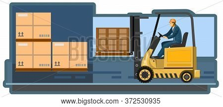 Careful Loading And Unloading Of Cargo. Vector Illustration. Logistics Company. Cargo Delivery Servi
