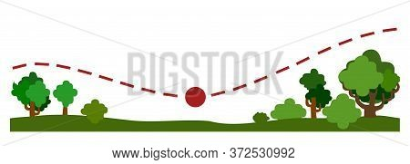 Travel Trip. Vector. Symbolic Image Of A Travel Map In Cartoon Style. Nature, Forest, Trees. Adventu