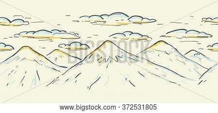 High Mountain Ranges With Clouds Graphic Seamless Vector Sketch Border. Landscape. Hand Drawn Color
