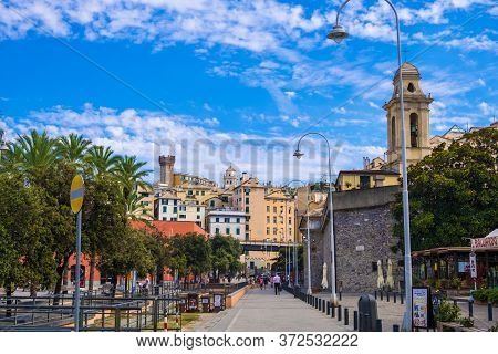 Genoa, Italy - August 20, 2019: Cityscape Near Porto Antico Di Genova In The Historic Center Of Geno