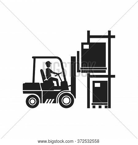 Forklift Warehouse Icon - Freight Packaging Loader Silhouette With Driver - Monochrome Vector Truck