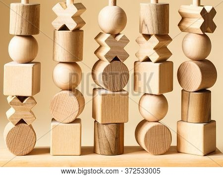 Children\'s Wooden Toys. Sequencing Blocks Learning Resource For Educating Shapes, Fine Motor Skills