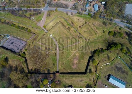 Top View Of The Annenskie Fortifications On A Sunny May Day. Vyborg, Russia