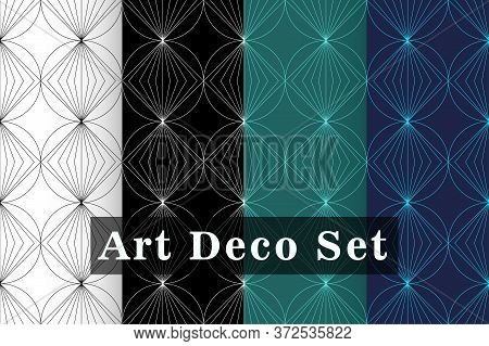 Art Deco Seamless Pattern Set. Art Deco Pattern With Gold Rhombuses On A White, Black, Blue Backgrou