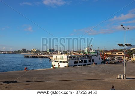 Dumaguete, The Philippines - 10 Mar 2020: Sea Port And Passenger Ferry. Maritime Delivery Of Cargo A