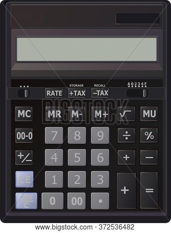 Calculator. Vector. Desktop Large Office Calculator. The Device For Calculating. With Additional Fea