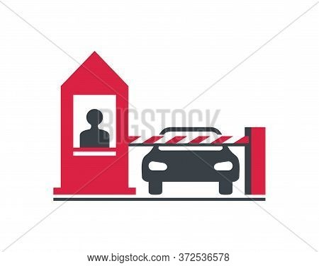 Checkpoint Icon - Security Booth And Barrier Turnpike - Isolated Vector Sign