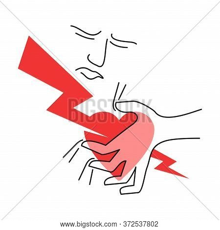 Heart Attack Myocardial Cardiac Infarction - Man Holds His Chest In Fit Of Pain (lightning Stricken