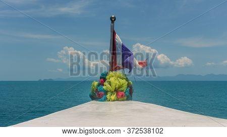 Koh Phangan, Thailand- April 18 2019: Public Transportation Islands Ferry, Flag Decoration