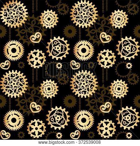 Golden Openwork Gears On A Black Background With Brown Cogwheels. Mechanism, Steampunk, Retro. Vecto