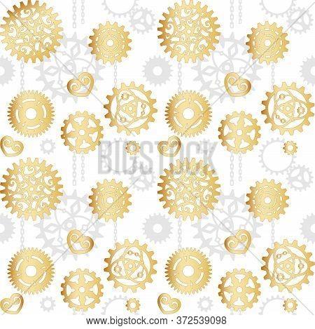 Golden Openwork Gears On A White Background With Gray Cogwheels. Mechanism, Steampunk, Retro. Vector