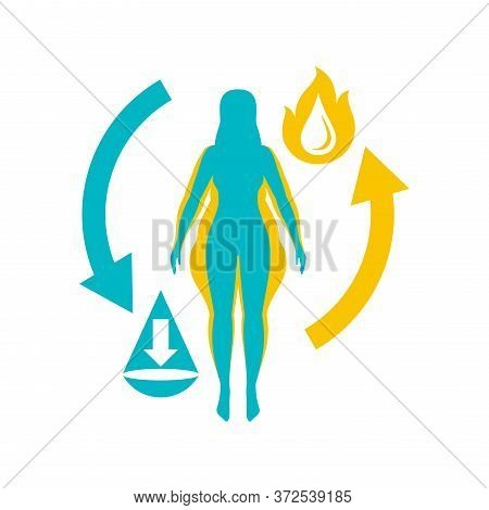 Weight Loss Logo Concept - Diet Program Isolated Icon In Form Of Abstract Woman Silhouette (fat And