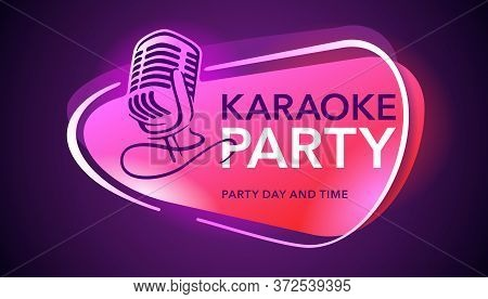 Karaoke Party Flyer, Banner Or Poster Template - Microphone Silhouette And Sample Text On Dark Neon