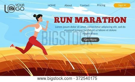 Run Marathon Landing Page. Athletic Woman Sprinter Running. Sport Motivation And Healthy Lifestyle.